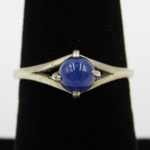 Vintage Size 6 Sterling Rustic Star Sapphire Ring